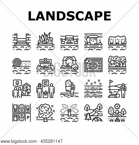 Landscape Design And Accessories Icons Set Vector. Landscape Design Plan And Care Service, Lighting