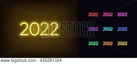 Outline Neon 2022 Icon. Glowing Neon 2022 Year, Numbers In Vivid Colors. Isolated Digits With Yellow