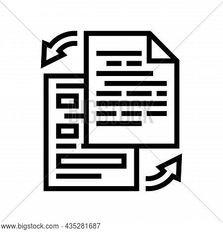 Rewriting Text Line Icon Vector. Rewriting Text Sign. Isolated Contour Symbol Black Illustration