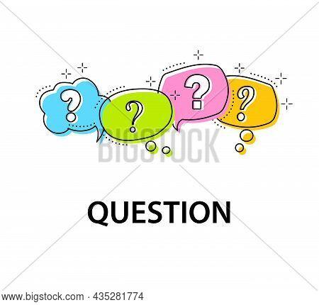 Question Mark Icon In Color Speech Bubble. Dialogue