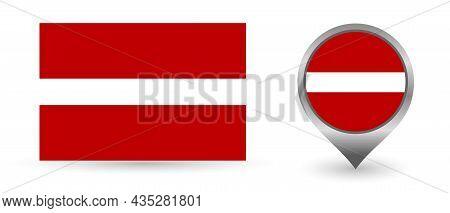 Vector Flag Latvia. Location Point With Flag Latvia Inside.