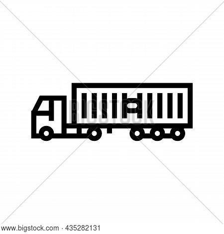 Ground Freight Truck Delivery Service Line Icon Vector. Ground Freight Truck Delivery Service Sign.