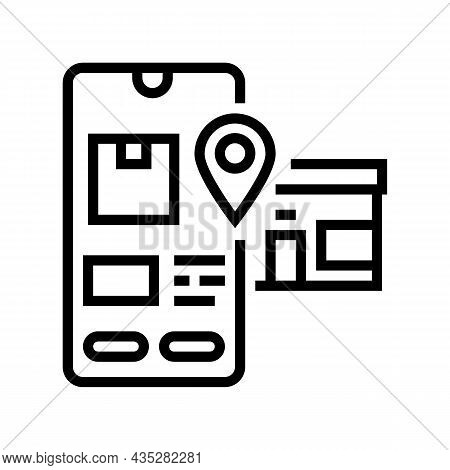 Pick Up Location Delivery Line Icon Vector. Pick Up Location Delivery Sign. Isolated Contour Symbol