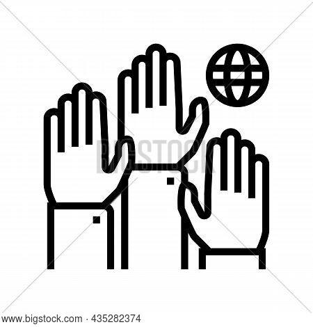Democracy World Line Icon Vector. Democracy World Sign. Isolated Contour Symbol Black Illustration