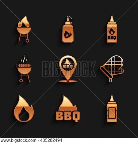 Set Location With Barbecue, Barbecue Fire Flame, Mustard Bottle, Oven Glove, Fire, Grilled Shish Keb