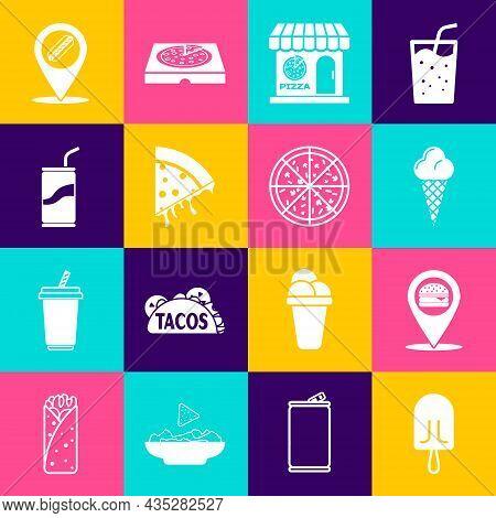 Set Ice Cream, Location With Burger, In Waffle Cone, Pizzeria Building Facade, Slice Of Pizza, Soda