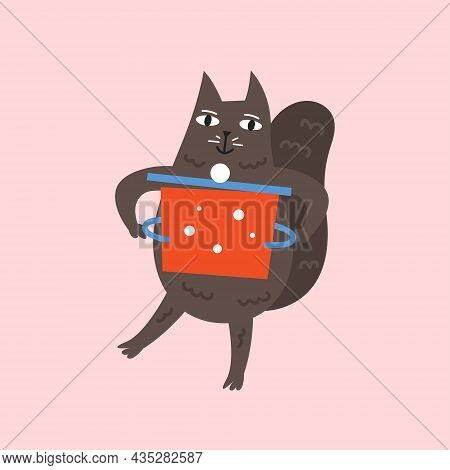 Domestic Funny Cat Cooking. Kitchen, Domestic Life. Vector Illustration Isolated On Background.