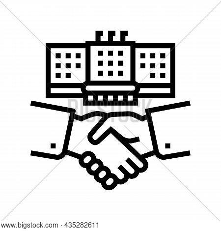 Embassy Diplomats Handshaking Line Icon Vector. Embassy Diplomats Handshaking Sign. Isolated Contour
