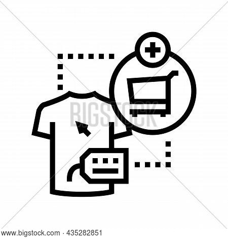 Add To Cart Line Icon Vector. Add To Cart Sign. Isolated Contour Symbol Black Illustration