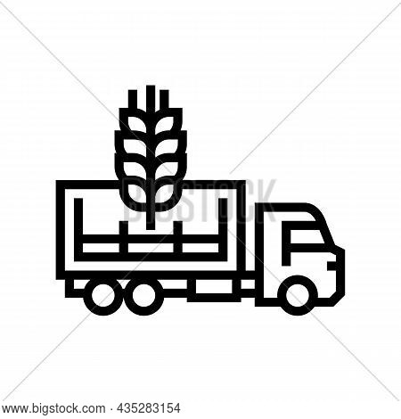 Delivery Wheat Line Icon Vector. Delivery Wheat Sign. Isolated Contour Symbol Black Illustration