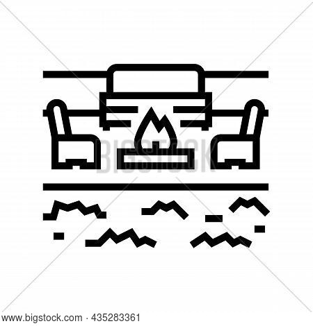 Outdoor Living Furniture And Fireplace Line Icon Vector. Outdoor Living Furniture And Fireplace Sign