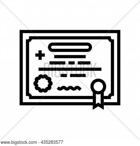 Medical License Line Icon Vector. Medical License Sign. Isolated Contour Symbol Black Illustration