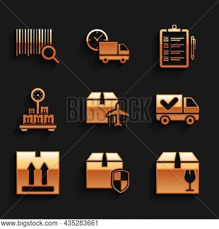 Set Plane And Cardboard Box, Delivery Security Shield, With Fragile Content, Truck Check Mark, Cardb