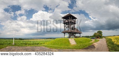 Ceske Lhotice, Czech Republic - 07 14 2021: Boika Lookout Tower - Wooden Building In The Panorama La
