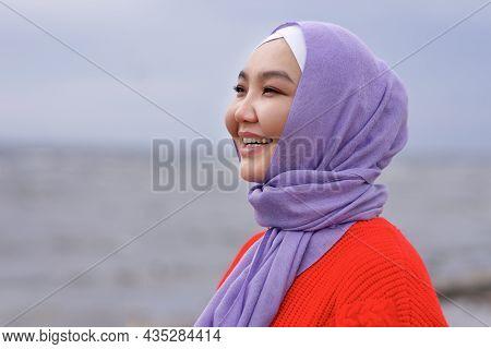 Portrait Of Beautiful Happy Pretty Asian Muslim Young Woman, Islamic Girl Is Wearing On Head Hijab S