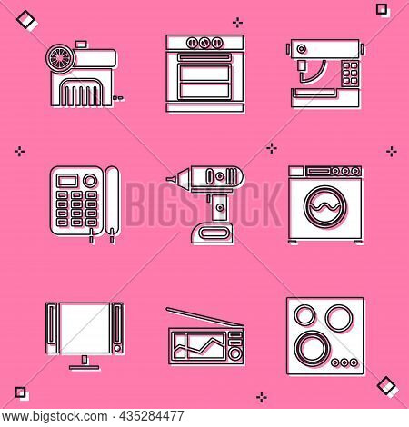 Set Air Compressor, Oven, Sewing Machine, Telephone, Electric Cordless Screwdriver And Washer Icon.