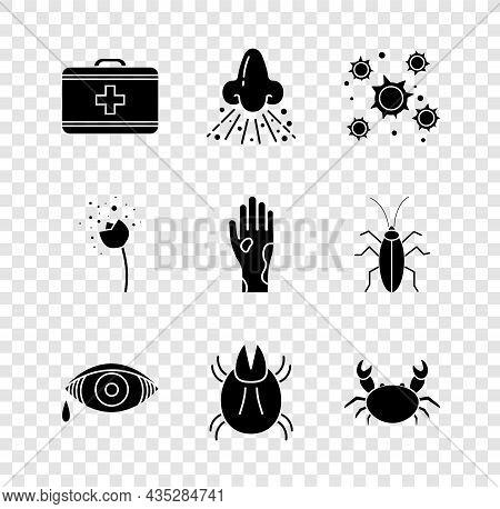 Set First Aid Kit, Runny Nose, Bacteria, Reddish Eye Allergic Conjunctivitis, Parasite Mite, Crab, F
