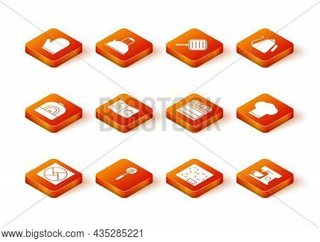 Set Ventilation, Pizza Knife, Oven, Cookbook, Electric Stove, Mixer And Chef Hat Icon. Vector