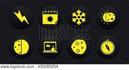Set Eclipse Of The Sun, Weather Forecast, Moon, Snowflake, Calendar And, Compass And Lightning Bolt