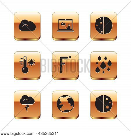Set Cloud, Storm, Earth Globe, Fahrenheit, Meteorology Thermometer, Eclipse Of Sun, And Weather Fore