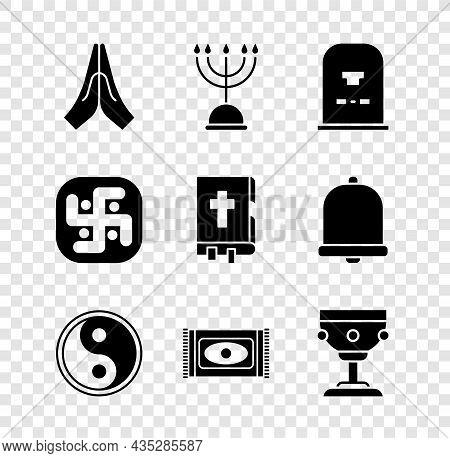 Set Hands In Praying Position, Hanukkah Menorah, Tombstone With Rip Written, Yin Yang, Traditional C