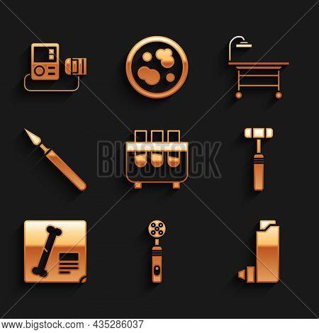 Set Test Tube And Flask, Electric Toothbrush, Inhaler, Neurology Reflex Hammer, X-ray Shots, Medical