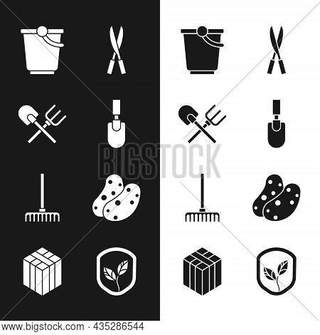 Set Garden Trowel Spade Or Shovel, Shovel And Rake, Bucket, Gardening Handmade Scissors, Potato, Shi