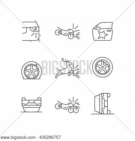 Common Car Crashes Linear Icons Set. Rollover Accidents. Wildlife Vehicle Collision. Motorcycle Cras