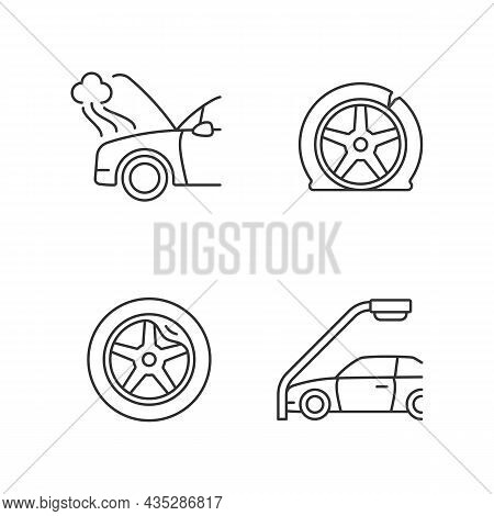 Vehicle Damage In Car Accident Cases Linear Icons Set. Mechanical Breakdown. Automobile Tire Defects