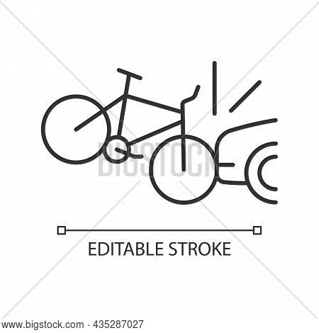 Car Collision With Cyclist Linear Icon. Accident With Bicyclist And Driver. Car-on-bike Collision. T