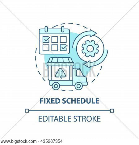 Fixed Schedule Blue Concept Icon. Waste Management Abstract Idea Thin Line Illustration. Garbage Pic