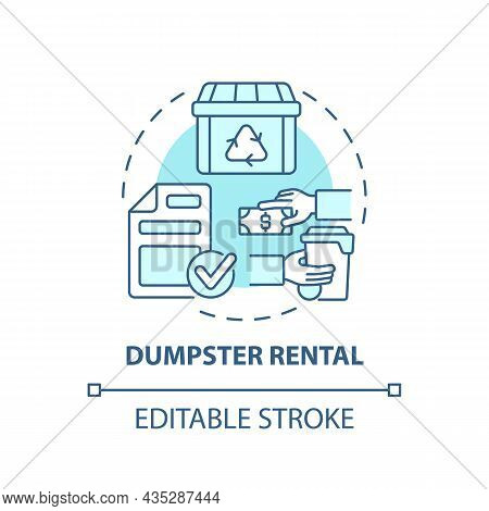 Dumpster Rental Blue Concept Icon. Waste Management Service Abstract Idea Thin Line Illustration. Ro