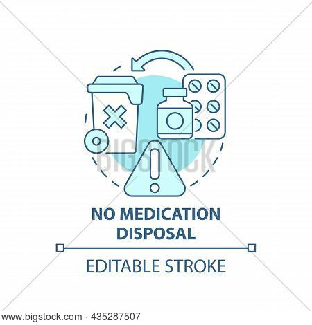 No Medication Disposal Blue Concept Icon. Waste Management Abstract Idea Thin Line Illustration. Pha