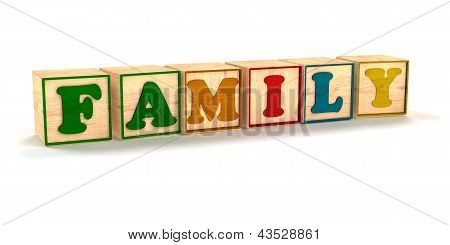 Family Spelled  Child Color Blocks Isolated on White