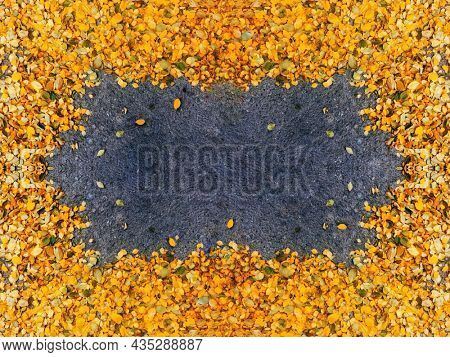 Colorful yellow and orange autumn leaves border frame background.