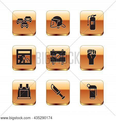 Set Traffic Jam, Bulletproof Vest, Military Knife, Road Barrier, Broken Window, Fire Extinguisher, H