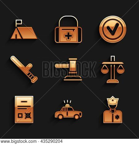 Set Judge Gavel, Police Car And Flasher, Officer, Scales Justice, Poll Document, Rubber Baton, Check