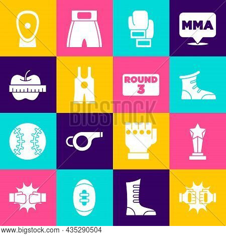 Set Punch In Boxing Gloves, Award Cup, Sport Shoes, Boxing, Wrestling Singlet, Apple And Measuring T