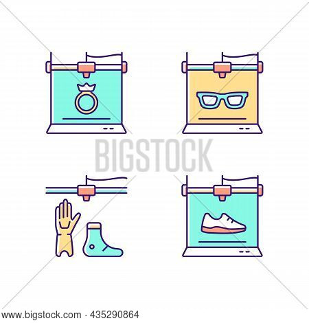 Building 3d Objects Process Rgb Color Icons Set. Jewelry Production. Eyewear Industry. Artificial Li