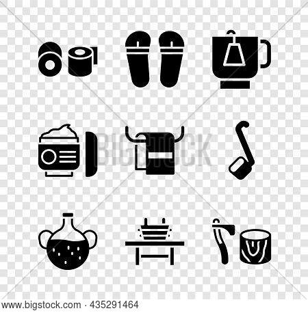 Set Toilet Paper Roll, Flip Flops, Cup Of Tea With Tea Bag, Essential Bottle, Sauna Bench Bucket, Wo