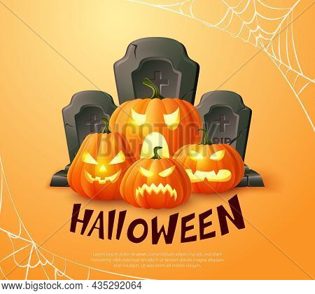 Happy Halloween 3d Realistic Scary Jack Lantern Gravestone And Spider Web