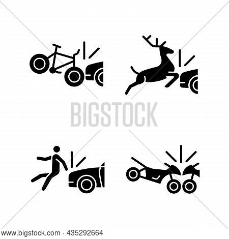 Traffic Collision Scenarios Black Glyph Icons Set On White Space. Bicycle Crash. Colliding With Wild