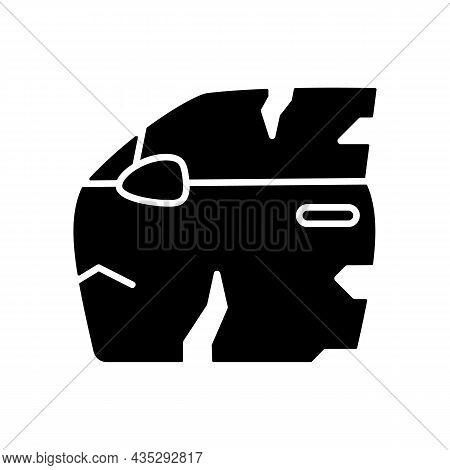 Broken Car Door Black Glyph Icon. Road Traffic Accident. Door Panel Dents. Damaged Auto Body Side. D