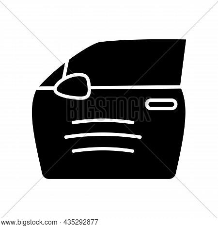 Paint Scratch On Car Black Glyph Icon. Small Dents On Vehicle Surface. Minor External Damage. Chips