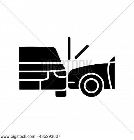 Side Collision Black Glyph Icon. Broadside Crash. T-bone Collision. Car Accident. Distracted Driving