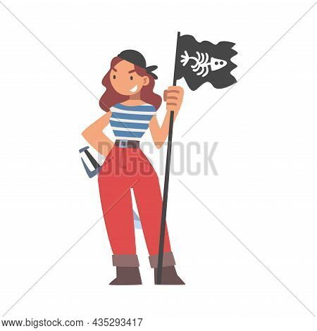 Brutal Woman Pirate Or Buccaneer Character With Black Flag And Sabre As Marine Robber Vector Illustr