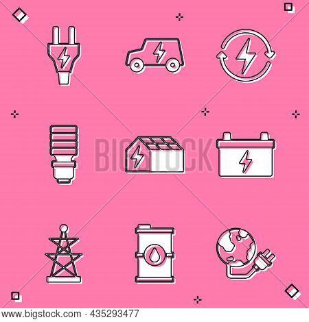 Set Electric Plug, Car, Recharging, Led Light Bulb, Solar Energy Panel, Car Battery, Tower And Bio F