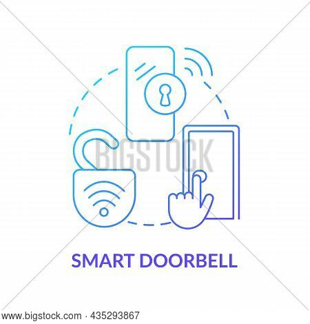 Smart Doorbell Blue Gradient Concept Icon. Digital Video And Ring Tool Abstract Idea Thin Line Illus