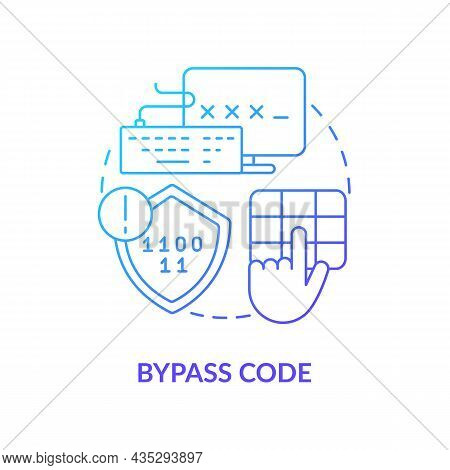 Bypass Code Blue Gradient Concept Icon. User Authentication Abstract Idea Thin Line Illustration. Ve