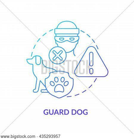 Guard Dog Blue Gradient Concept Icon. Domestic Animal Abstract Idea Thin Line Illustration. Pet Trai